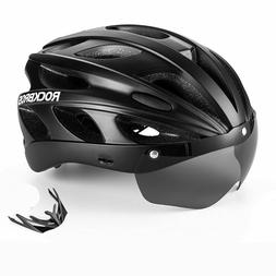 cycling bicycle protective helmet with polarized sunglass