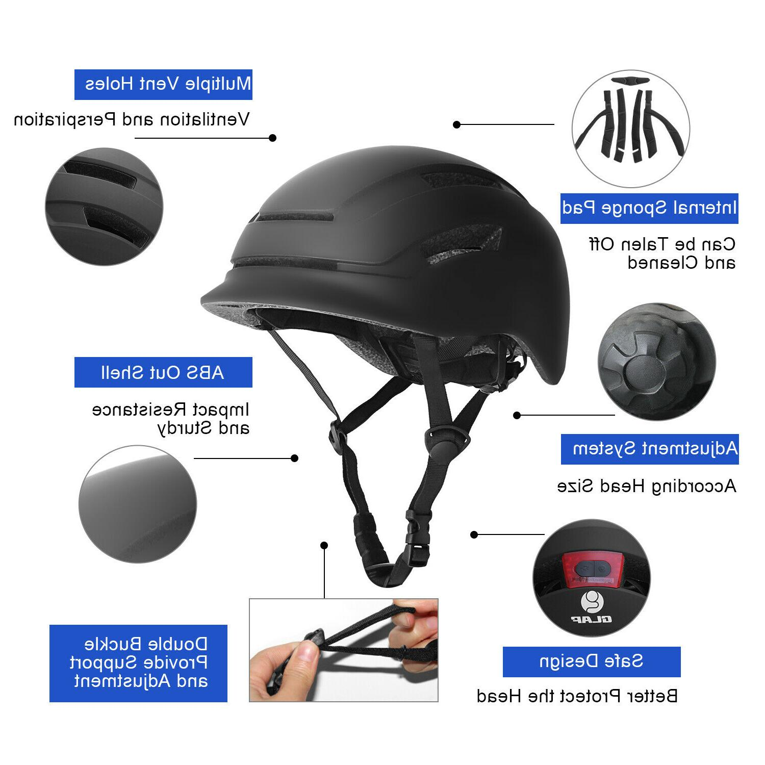 Glaf Adult Safety Helmet Bicycle USB Tail Light